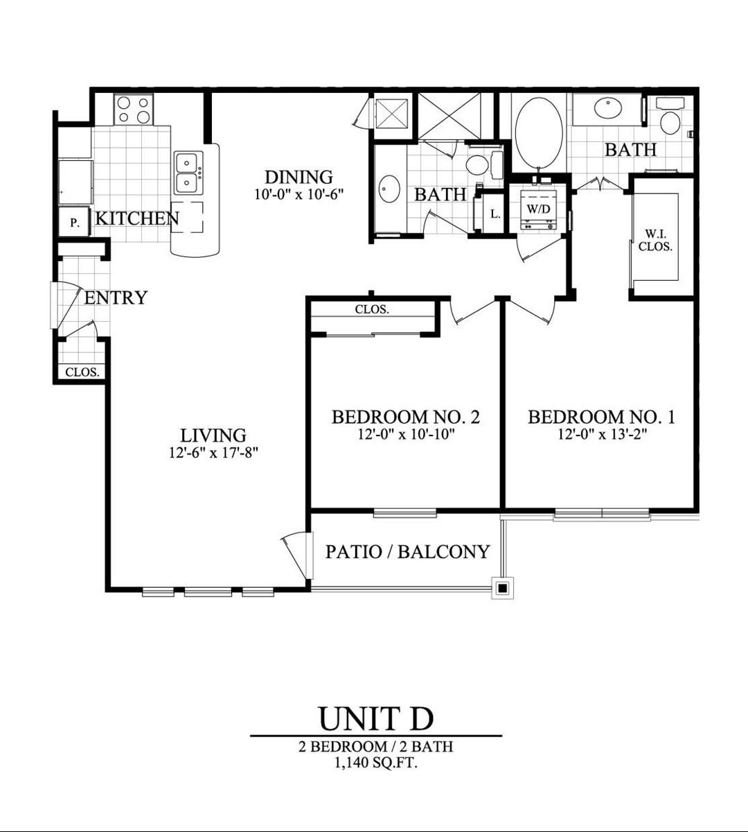 1,140 sq. ft. D floor plan