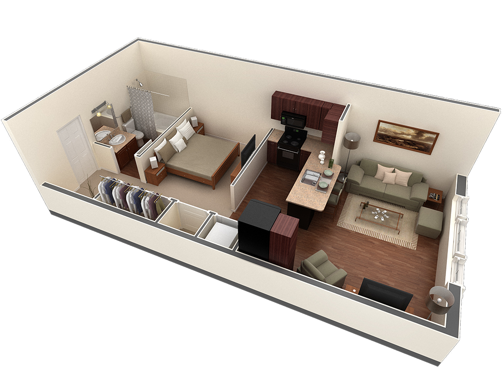 602 sq. ft. Autry floor plan