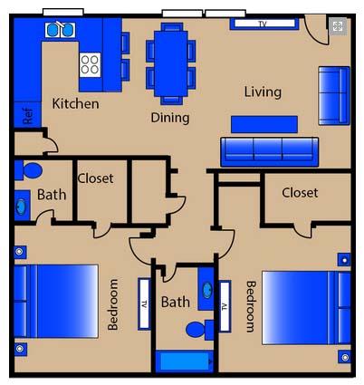 1,075 sq. ft. M2 floor plan