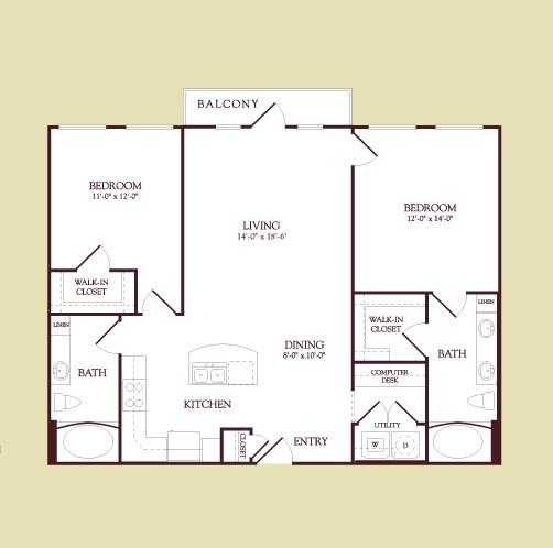 1,157 sq. ft. Wteth floor plan