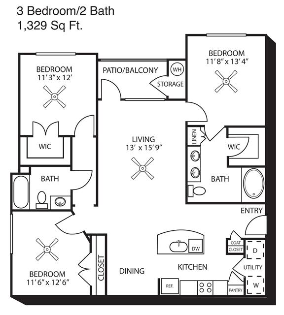 1,329 sq. ft. floor plan