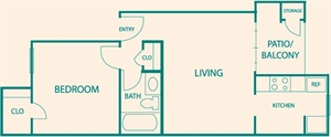 530 sq. ft. A1 floor plan