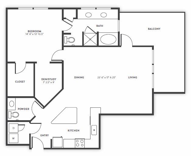 1,200 sq. ft. A7 floor plan