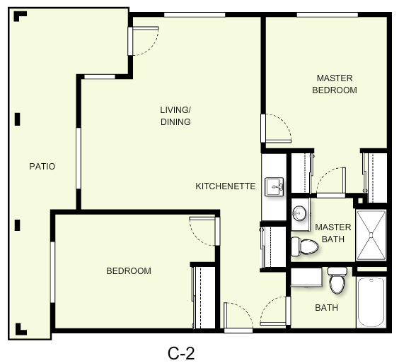 937 sq. ft. C2 floor plan