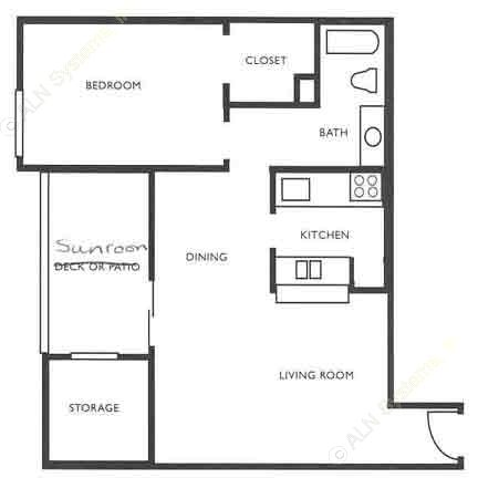 860 sq. ft. A5 floor plan