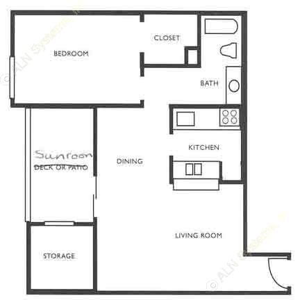 860 sq. ft. A5 floor plan