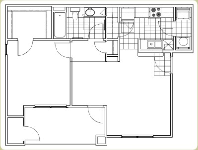 688 sq. ft. floor plan