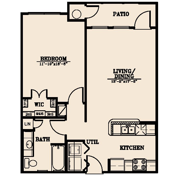 756 sq. ft. Nueces 40% floor plan