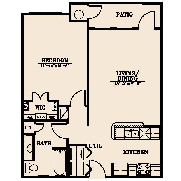 756 sq. ft. Nueces/40% floor plan