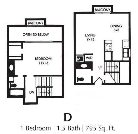795 sq. ft. D floor plan