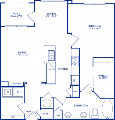 899 sq. ft. TULANE floor plan