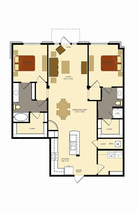 1,380 sq. ft. F1 floor plan