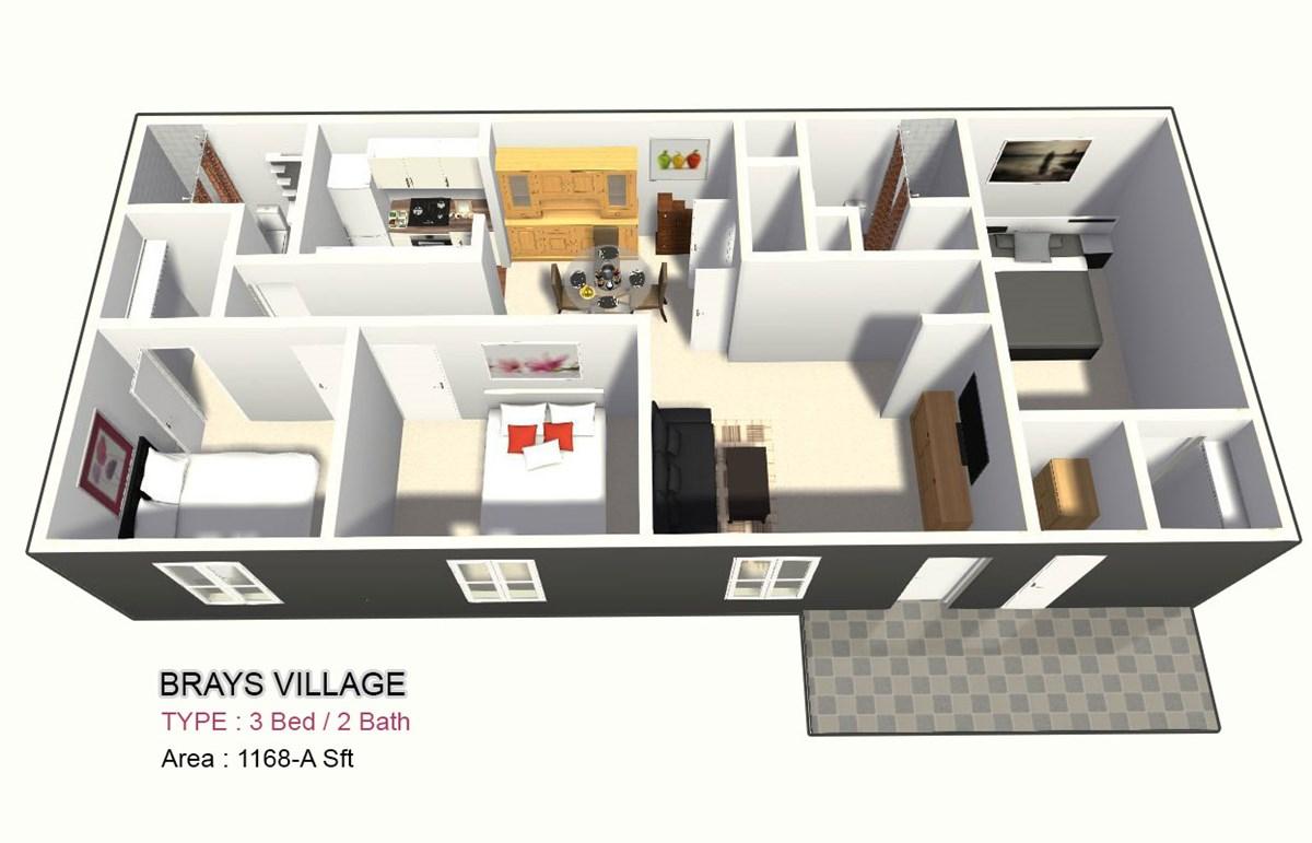 1,168 sq. ft. C floor plan