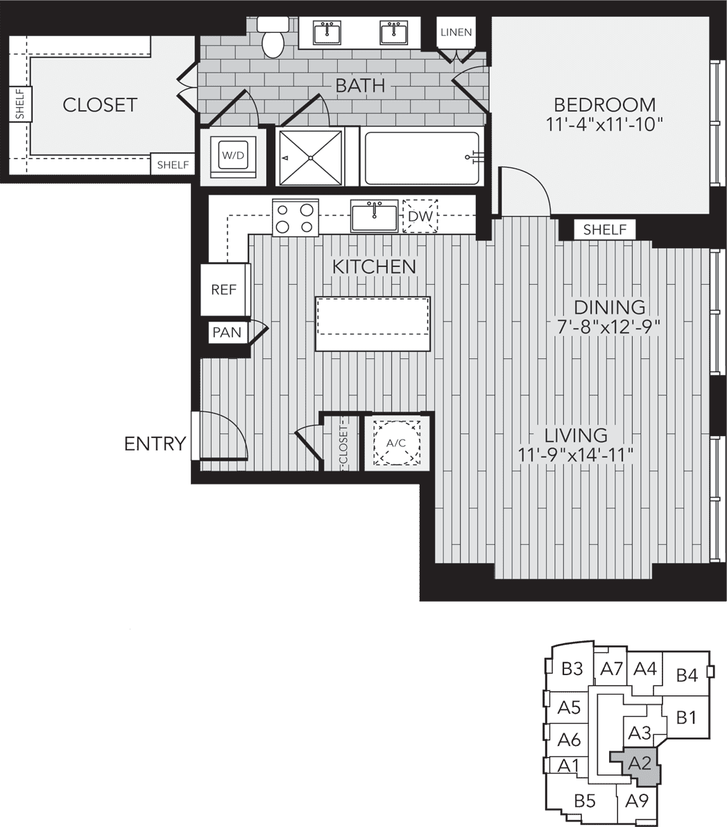 967 sq. ft. A2 floor plan