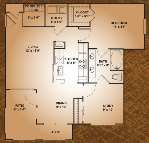 923 sq. ft. Mourning Dove floor plan