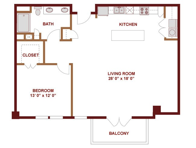 1,153 sq. ft. NUECES floor plan