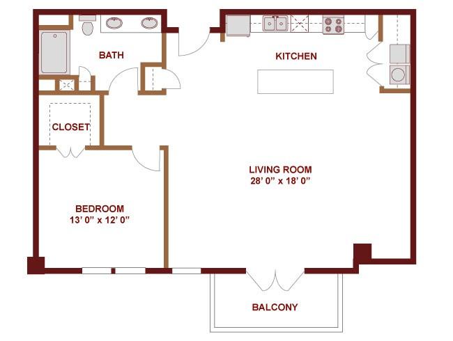 1,153 sq. ft. Nueces floor plan