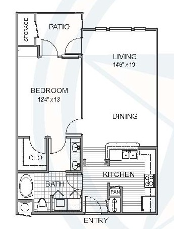 814 sq. ft. Maple floor plan