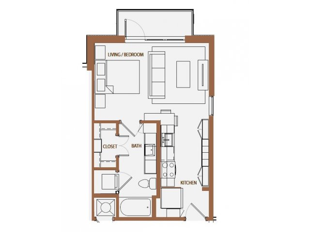 489 sq. ft. S1 floor plan