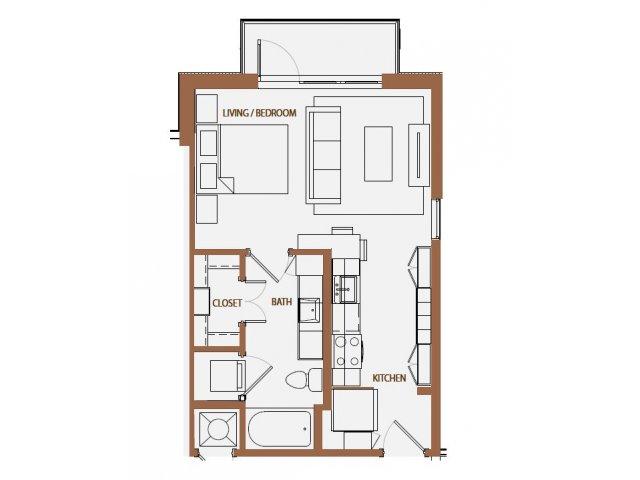 489 sq. ft. S1 floor plan
