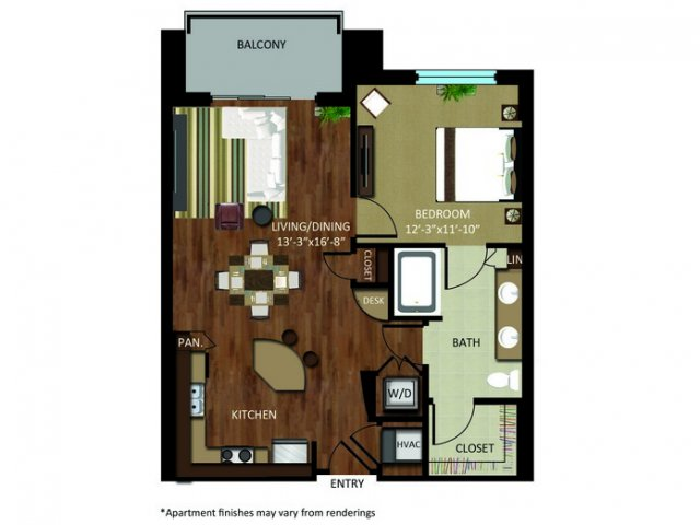 795 sq. ft. A9C floor plan