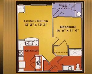 616 sq. ft. Biltmore/50% floor plan