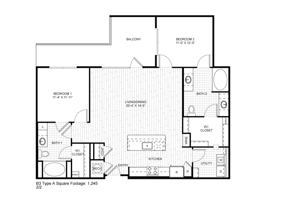 1,245 sq. ft. B3A floor plan