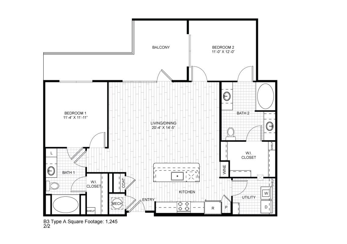 1,114 sq. ft. B3 floor plan