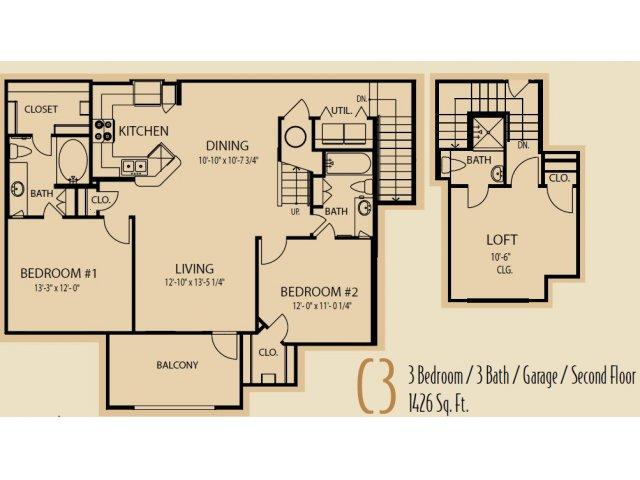 1,426 sq. ft. C3 floor plan