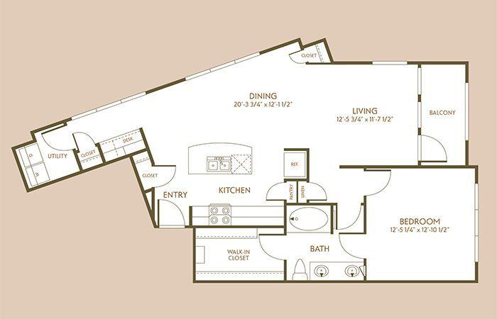 958 sq. ft. A8 floor plan