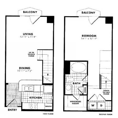 814 sq. ft. Cappiello floor plan