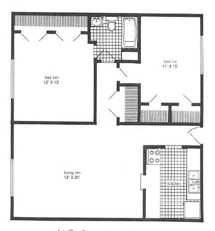 1,120 sq. ft. B3 floor plan