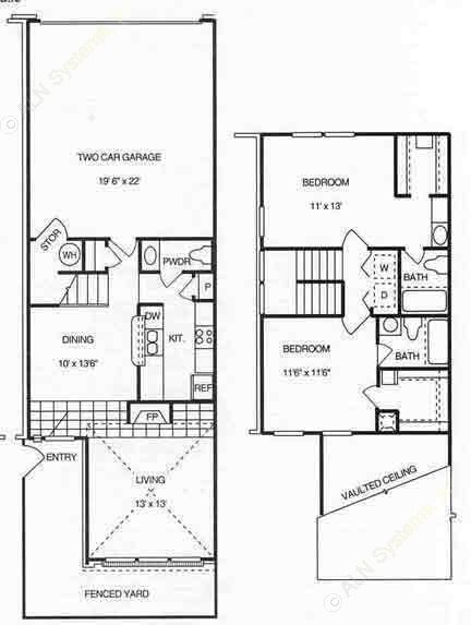 1,196 sq. ft. B2  w/2 Gar floor plan