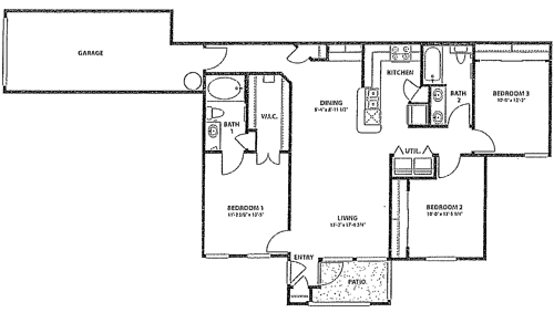 1,234 sq. ft. 60% floor plan