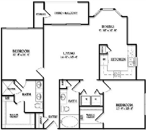 1,114 sq. ft. Audubon floor plan