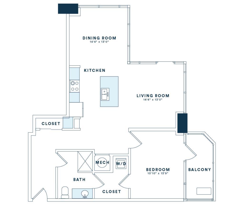 947 sq. ft. A10 floor plan