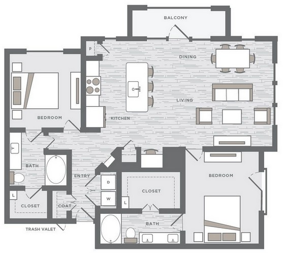 1,368 sq. ft. B5A floor plan