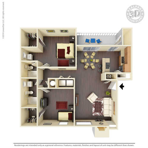 995 sq. ft. B6 floor plan