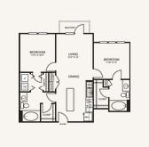 963 sq. ft. B2B floor plan