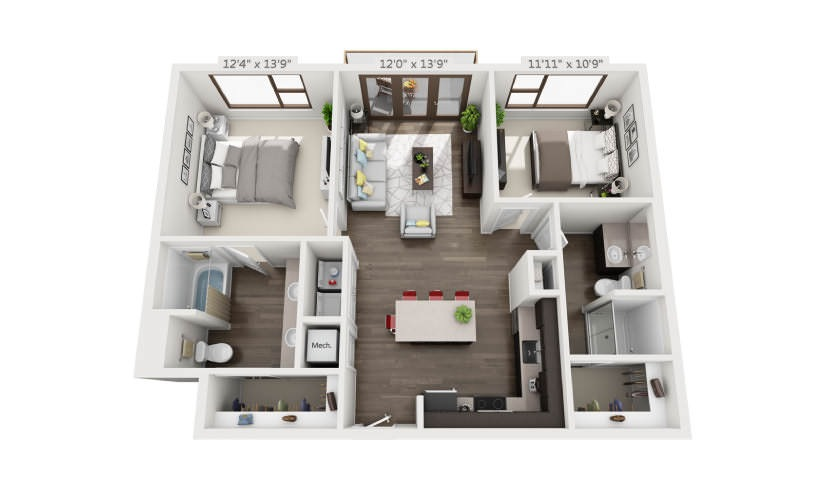 1,028 sq. ft. B1A floor plan
