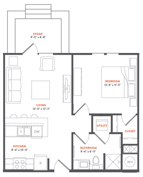 631 sq. ft. A1A floor plan