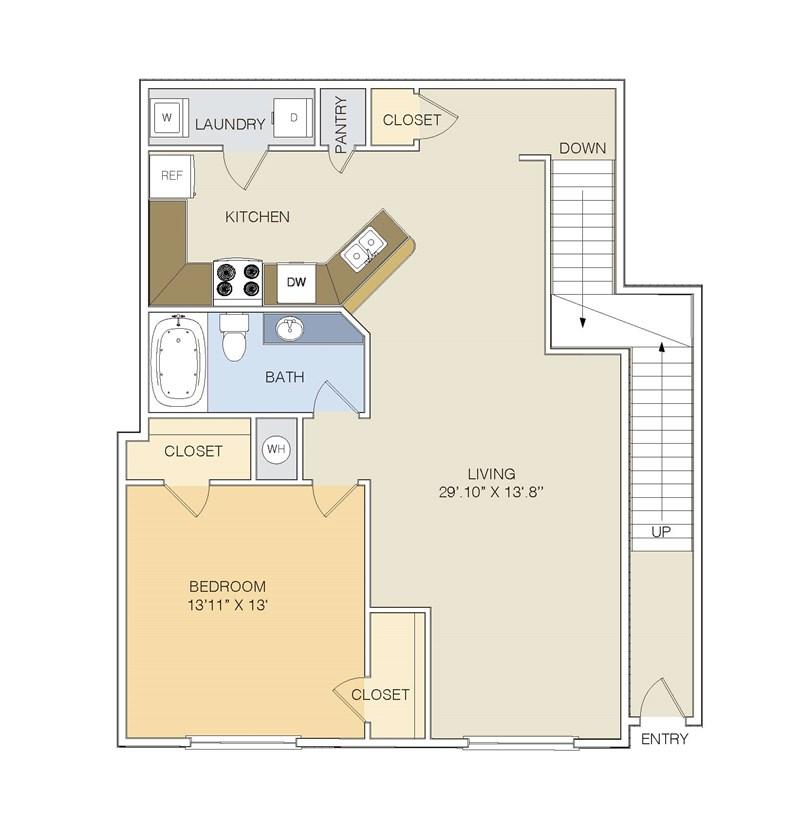 987 sq. ft. A2 UPPER floor plan