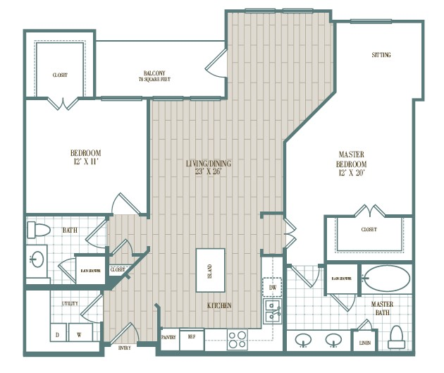 1,208 sq. ft. to 1,230 sq. ft. Montecito floor plan