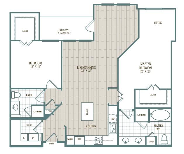 1,230 sq. ft. Montecito floor plan