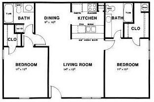 1,040 sq. ft. C floor plan