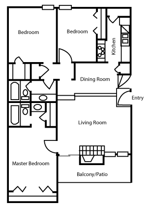 1,248 sq. ft. C1 floor plan