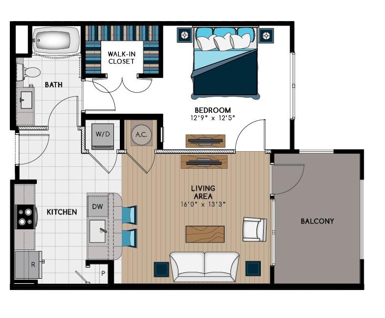 757 sq. ft. 1A2 floor plan