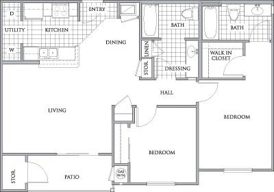 980 sq. ft. to 997 sq. ft. BELMONT/60 floor plan