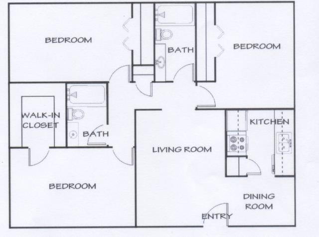 1,200 sq. ft. H/J floor plan