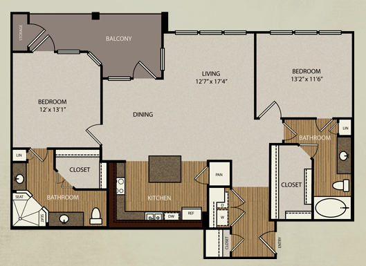1,240 sq. ft. B3a floor plan